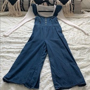 AE gaucho style jumpsuit with ruffle trim crop top